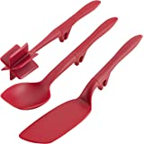 Rachael Ray Tools and Gadgets Lazy Crush & Chop, Flexi Turner, and Scraping Spoon Set/Cooking Utensils - 3 Piece, Red