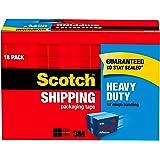 Scotch Heavy Duty Shipping Packaging Tape, 18-Rolls, Clear