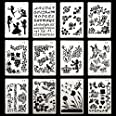 DEPEPE Plastic Stencils for Bullet Journal Painting Craft Pack of 12