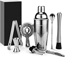 Yissvic 9Pcs Cocktail Shaker Set Cocktail Shaker Cocktail Kit Professional 700ml Cocktail Shaker Cocktail Set Stainless...