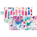 Bumkins Snack Bags, Reusable, Washable, Food Safe, BPA Free, 2-Pack, Watercolor & Brushstrokes