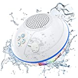 Portable Bluetooth Speakers with LED Lights, IPX7 Waterproof Floating Speaker, Stereo Sound, Built-in Mic, Wireless Shower Sp