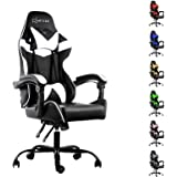 Artiss Gaming Office Chair Computer Seating Adjustable Racing Recliner Racer PU Leather with High Back and Armrest Black Whit