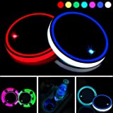 Boao 2 Pieces LED Cup Holder Lights LED Car Coasters 7 Colors Luminescent Cup Pad USB Charging Cup Mat for Drink Coaster Acce