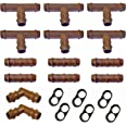 Habitech Irrigation Fittings Kit for 1/2 Tubing 20 Piece Set - 6 Tees 6 Couplings 2 Elbows 6 Tubing End Caps for Rain Bird an