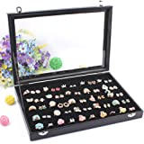 Wuligirl 100 Slot Jewelry Ring Tray Velvet Clear Lid Rings Holder Showcase Display Storage Organizer Stackable(100 Slot Ring