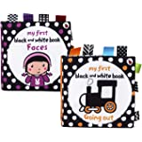Baby First Soft Activity Cloth Book Set, High Contrast Black and White Interactive Crinkle Soft Book Bundle for Infant, Baby