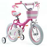 RoyalBaby Girls Kids Bike Jenny Bunny 12 14 16 18 20 Inch Bicycle 3-12 Years Old Basket Training Wheels Kickstand White Pink