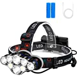 Rechargeable Headlamp, Foxdott 8 LED Headlamp Flashlight with White Red Lights,8 Modes USB Rechargeable Waterproof Head Lamp