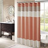 Madison Park Amherst Fabric Coral Shower Curtain,Pieced Transitional Simple Shower Curtains for Bathroom, 72 X 72, Salmon