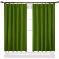 Deconovo 1級遮光カーテン 幅100cm丈60cm グリーン おしゃれ 形態記憶加工済み UVカット 断熱 節電…
