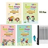 14 Pcs English Magic Practice Copybook, 4 Packs Books Reusable Copybook with Magical Pen Magic Calligraphy Magic Calligraphy