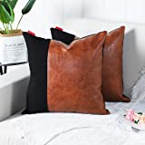 Mandioo Set of 2 Luxury Boho Decorative Throw Pillow Covers Cushion Cases Faux Leather and Cotton Farmhouse Pillowcases for C