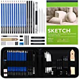 Sketching and Drawing Pencils Set, 37-Piece Professional Sketch Pencils Set in Zipper Carry Case, Art Supplies Drawing Set wi