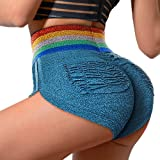 Ruched Pockets Butt Lifting Booty Shorts for Women High Waist Running Workout Hot Yoga Pants