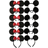 (Pack of 12) - Mickey Mouse Ears Solid Black and Bow Minnie Headband for Boys and Girls Birthday Party or Celebrations (Pack