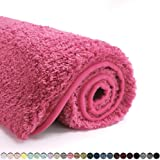 Suchtale Bathroom Rug Non Slip Bath Mat for Bathroom (16 x 24, Hot Pink) Water Absorbent Soft Microfiber Shaggy Bathroom Mat