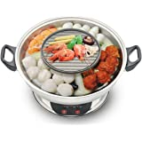 2in1 Electric Hotpot with BBQ Grill by Galaxy Tiger SET-400A - Stainless Steel Shabu Shabu Steamboat and BBQ Grill Combined i