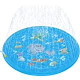 Tobeape Upgraded 68 inches Sprinkle and Splash Play Mat, Inflatable Outdoor Sprinkler Pad Water Toys for Children Blue