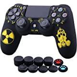 YoRHa Laser Carving Silicone Cover Skin Case for Sony PS4/slim/Pro Dualshock 4 Controller x 1(Radiation) with Thumb Grips x 1