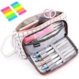 Pencil Case, Yloves Big Capacity Pen Pencil Bag Pouch Box Organizer Holder with 2 PCS Index Tabs for School Office (White Pla