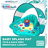 SwimSchool Splash Play Mat, Inflatable Kiddie Pool with Backrest and Canopy for Babies & Toddlers, Includes Three Toys, Multi
