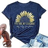 T&Twenties Women You are My Sunshine My Only Sunshine Tank Tops Funny Graphic Sunflower Sleeveless Tanks Tunics