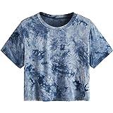 SweatyRocks Women's Casual Short Sleeve Tee Summer Tie Dye Crop Tops T Shirts
