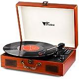 レコードプレーヤー - Amzdeal ターンテーブルレトロ 3スピード 多機能USB/SD/MMCプラグ ステレオスピーカー内蔵 ヘッドホン 2スピーカー付き FMラジオ 3.5mm RCA出力 ポータブル