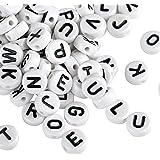 Naler 1200pcs Letter Beads Round A-Z Acrylic Plastic Beads Alphabet Beads for Bracelets Necklaces Key Chains Jewellery Art Cr