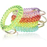 BIHRTC 5PCS Colorful Wrist Coil Keychain Plastic Coil Wristband Stretch Spring Spiral Coil Bracelets Key Chain Wrist Band Key
