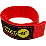 Wrap-It Storage Quick-Strap Cord Wraps, 9 inch (12 Pack) Red - Hook and Loop Strap, Extension Cord Holder for Boat Rope, Hose
