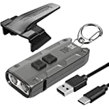 Nitecore Tip SE Gray 700 Lumen USB-C Rechargeable EDC Keychain Flashlight with Lumentac Charging Cable