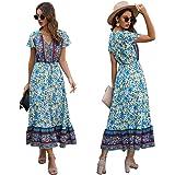 TILPAWOGGA Women's Sleeveless Summer Boho Floral V-Neck Adjustable Straps Casual Loose Beach Party Long Dress