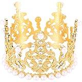 HAIQILIN Pearl Rhinestone Crown Girl&Baby Mini Princess Cake Crown