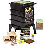 """Worm Factory 360 Worm Composting Bin + Bonus""""What Can Red Wigglers Eat?"""" Infographic Refrigerator Magnet (Black) - Vermicompo"""