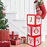 Christmas Decorations Large Red Transparent Joy Box Joy Blocks Decorations for Holiday Party Decorations, Home Decor, Firepla