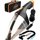 Car Vacuum Cleaner - high Power 110W 12v Corded auto Portable Vacuum Cleaner Car Interior Cleaning - Light-Weight Black DC Ca