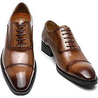 [Poerkan] ビジネスシューズ メンズ 防水高級レザー 内羽根 ドレスシューズ ストレートチップ 紳士靴 ロングノ…