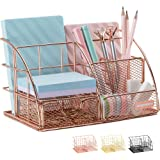 Rose Gold Desk Organizer for Women, AUPSEN Mesh Office Supplies Desk Accessories, Features 5 Compartments + 1 Mini Sliding Dr
