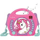 Unicorn - CD Player with mics, Programming Function, Headphones Jack, for Kids, with Power Supply or Batteries, Pink/Purple,