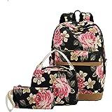 "BLUBOON School Backpack Set Canvas Teen Girls Bookbags 15"" Laptop Backpack Kids Lunch Tote Bag Clutch Purse"