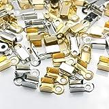 カシメ 紐留め 約200個 ゴールド シルバー 各100個 アクセサリーパーツ ネックレス ブレスレット アンクレット…