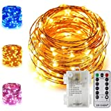 ER CHEN 33Ft 100 LED String Lights, Battery Operated Copper Wire Color Changing Christmas Fairy Lights with 8 Modes Remote Co