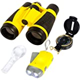 Kids Binoculars. Nature Exploration Adventure Toys. 5 PC Outdoor Adventure Set. Compass, Magnifying Glass, Flashlight, Backpa