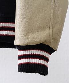 Melton Leather Award Jacket 7560-640-5037: Navy