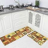 """Carvapet 2 Piece Microfiber Non-Slip Kitchen Mat Rubber Backing Doormat Runner Rug Set 17""""x48""""+17""""x24"""" Light Coffee"""
