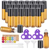 Essential Oil Roller Bottles, 24 Pack Amber Glass Roller Bottles 5ml, Roller Balls for Essential Oils, Roll on Bottles by Eas