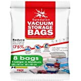 Vacuum Storage Bags - Pack of 8 (4 Large + 4 Medium) ReUsable space savers with free Hand Pump for travel packing - Best Seal