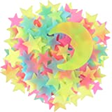 100 Pcs Colorful Glow in The Dark Luminous Stars and Moon Fluorescent Noctilucent Plastic Wall Stickers Murals Decals for Hom